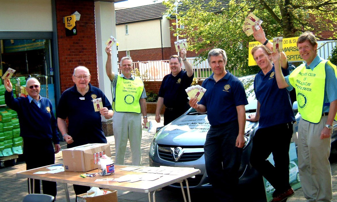 With fellow Rotarians, collecting for Royal Marsden Drug Research