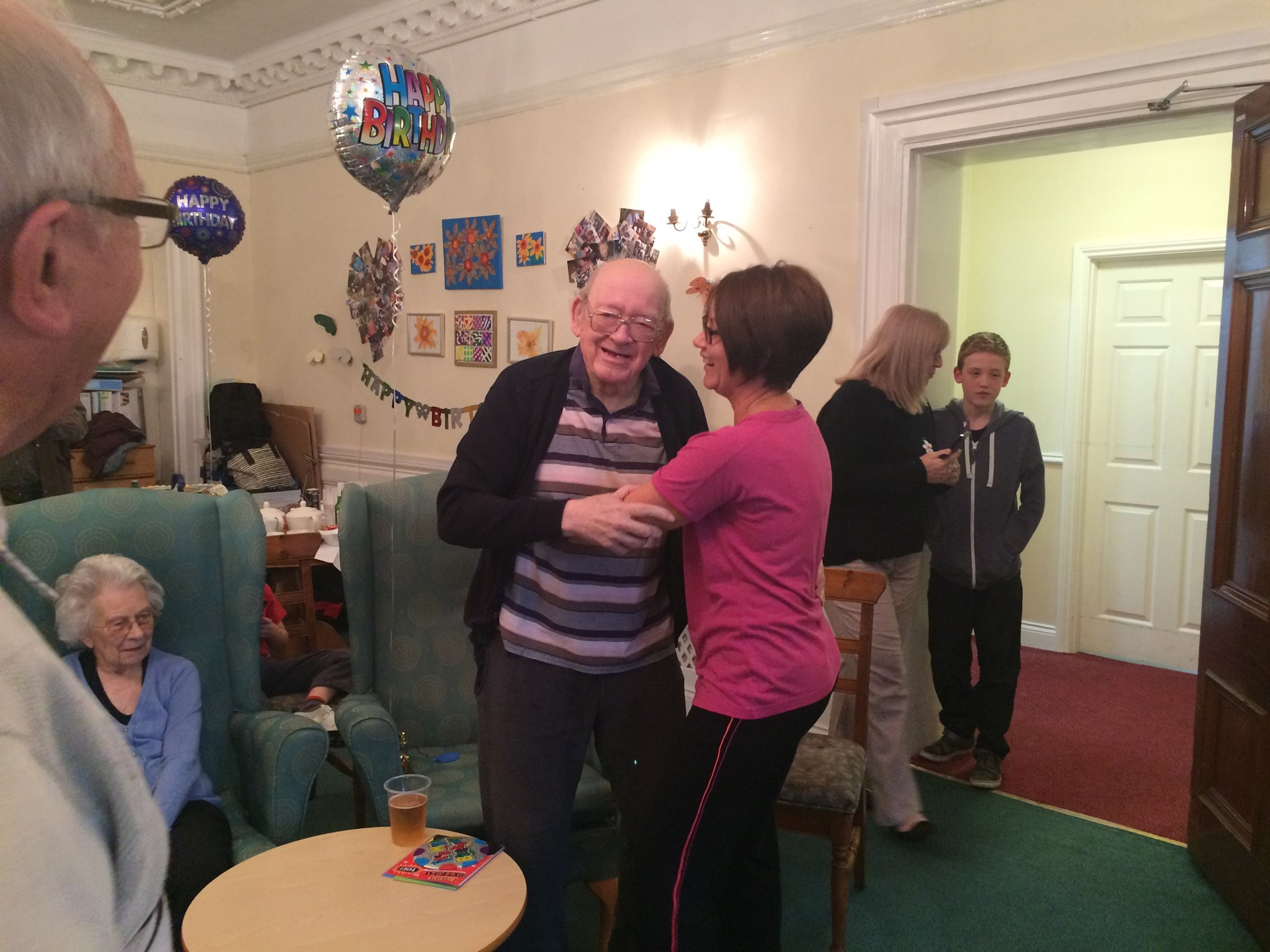 Leanne and David having a dance on his birthday