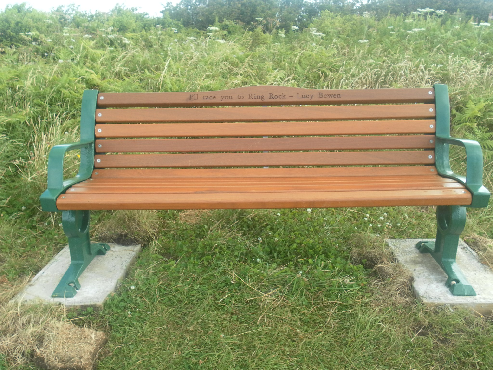 Lucy's bench which overlooks her favourite beach Pwll Du on the Gower.