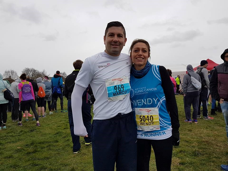 Marco and Wendy having completed Cambridge Half- Marathon