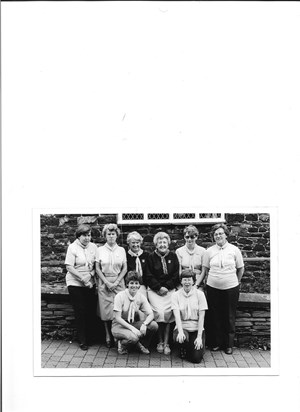 Mollie with the Cumbria Way Backup team 1985