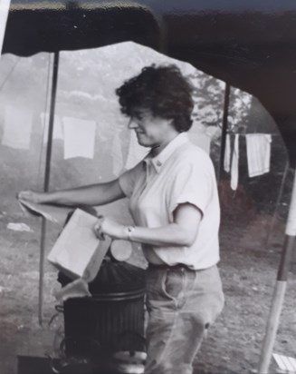 Mollie, always busy  at guide camp ,The Dhoon , I.O.M  c.1970