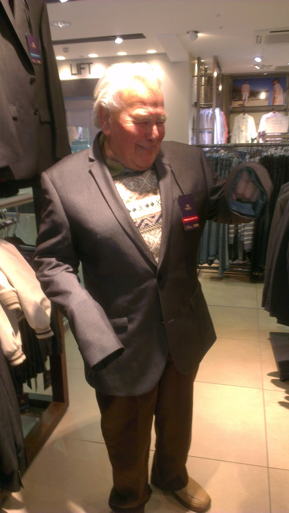 Trying to find a Wedding suit.  That one's a bit too big Dad.