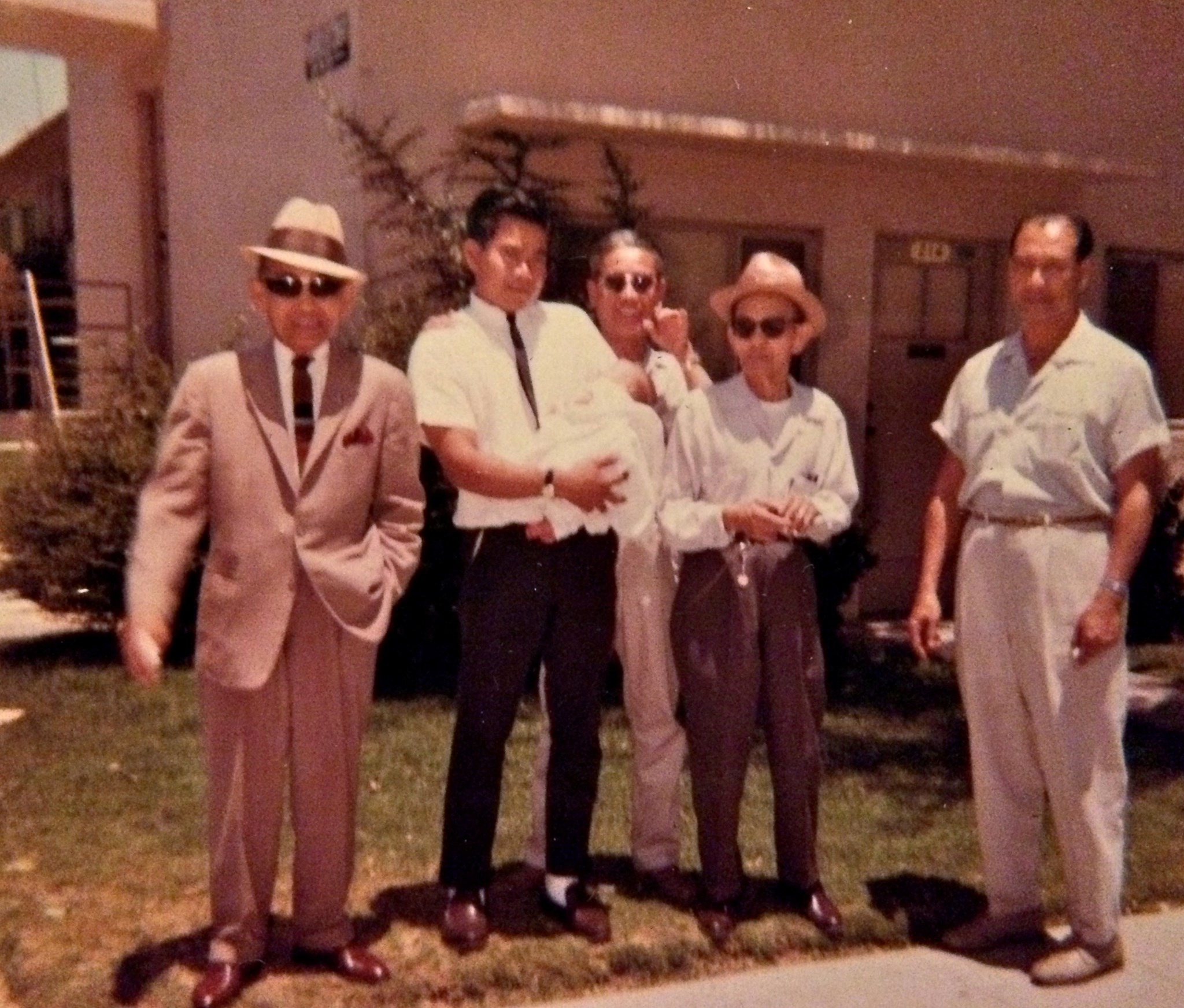 """Uncle Johnny, Don, Joseph, """" & Rudy with 1st Born, Angela Dolores"""