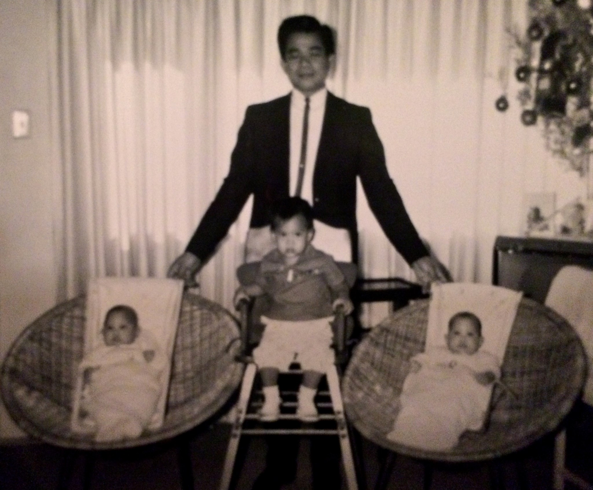Proud Father With Twins - Gloria & Helena; Angela 1yrs old