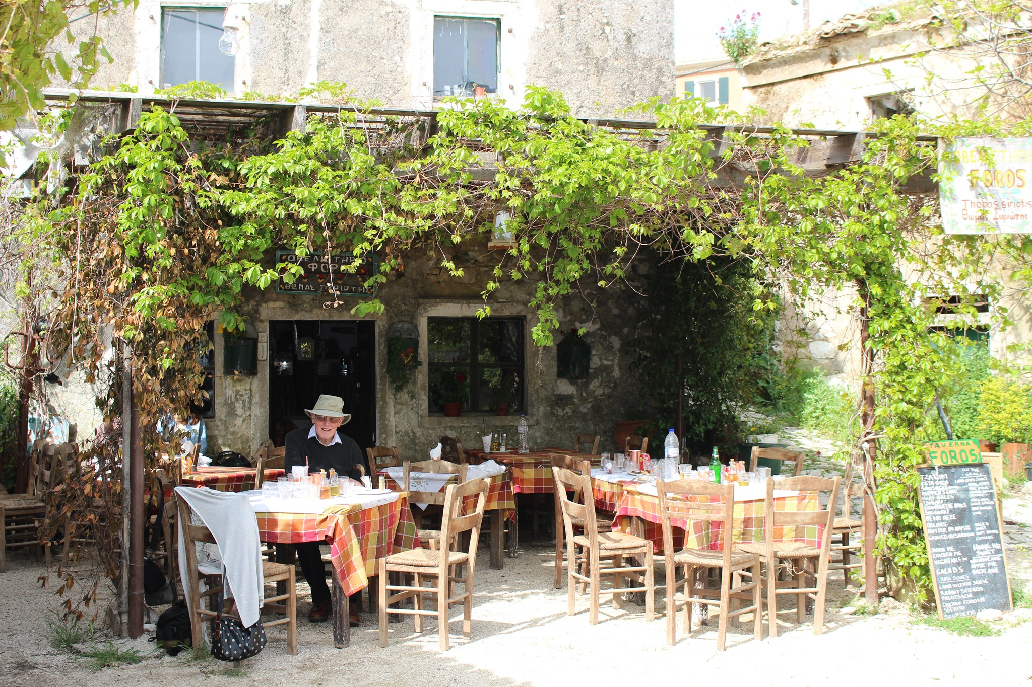 Reg in his favourite mountain taverna in Corfu. Easter 2014