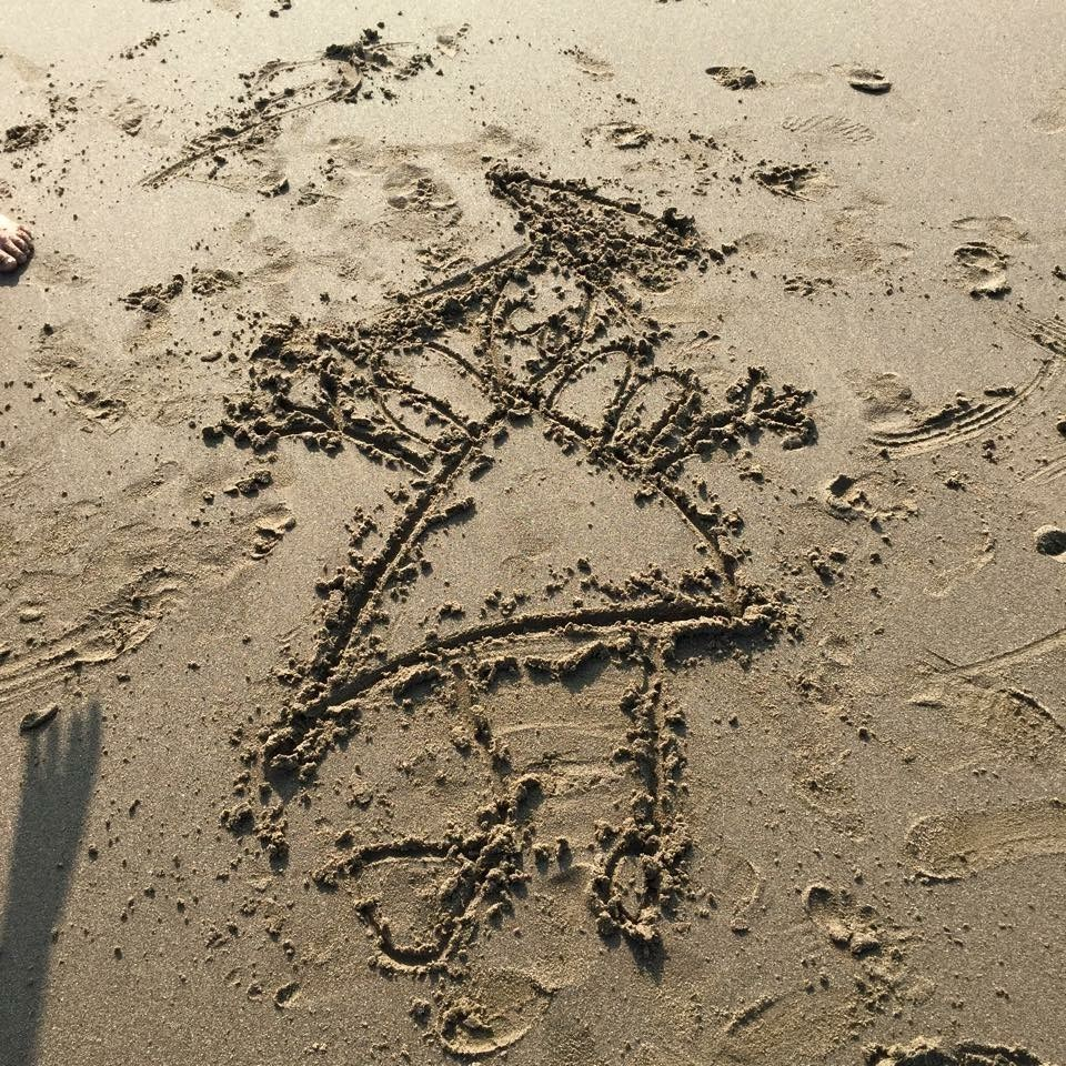 Maddie drew you as an angel on the beach in Scarborough