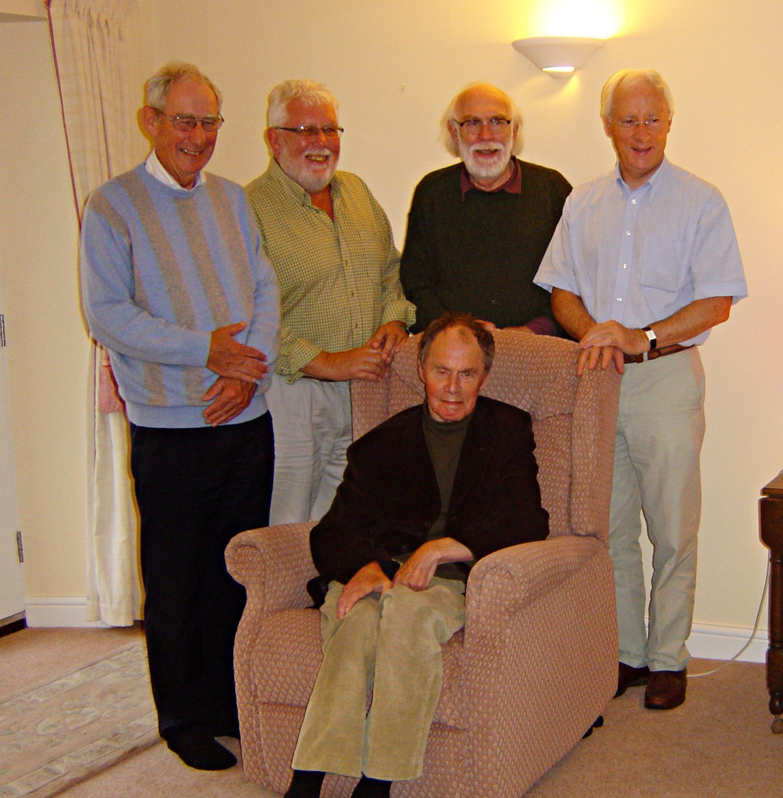 Alan with 1962 Battersea graduates Peter White, Fred Walters, David Bacon & Mike Bevis, Kendal 2008