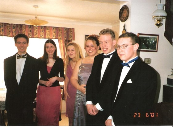 Leafy, Heather, Katrina, Katie, Kenny and Bear ready to go to the 6th form Leaver's party