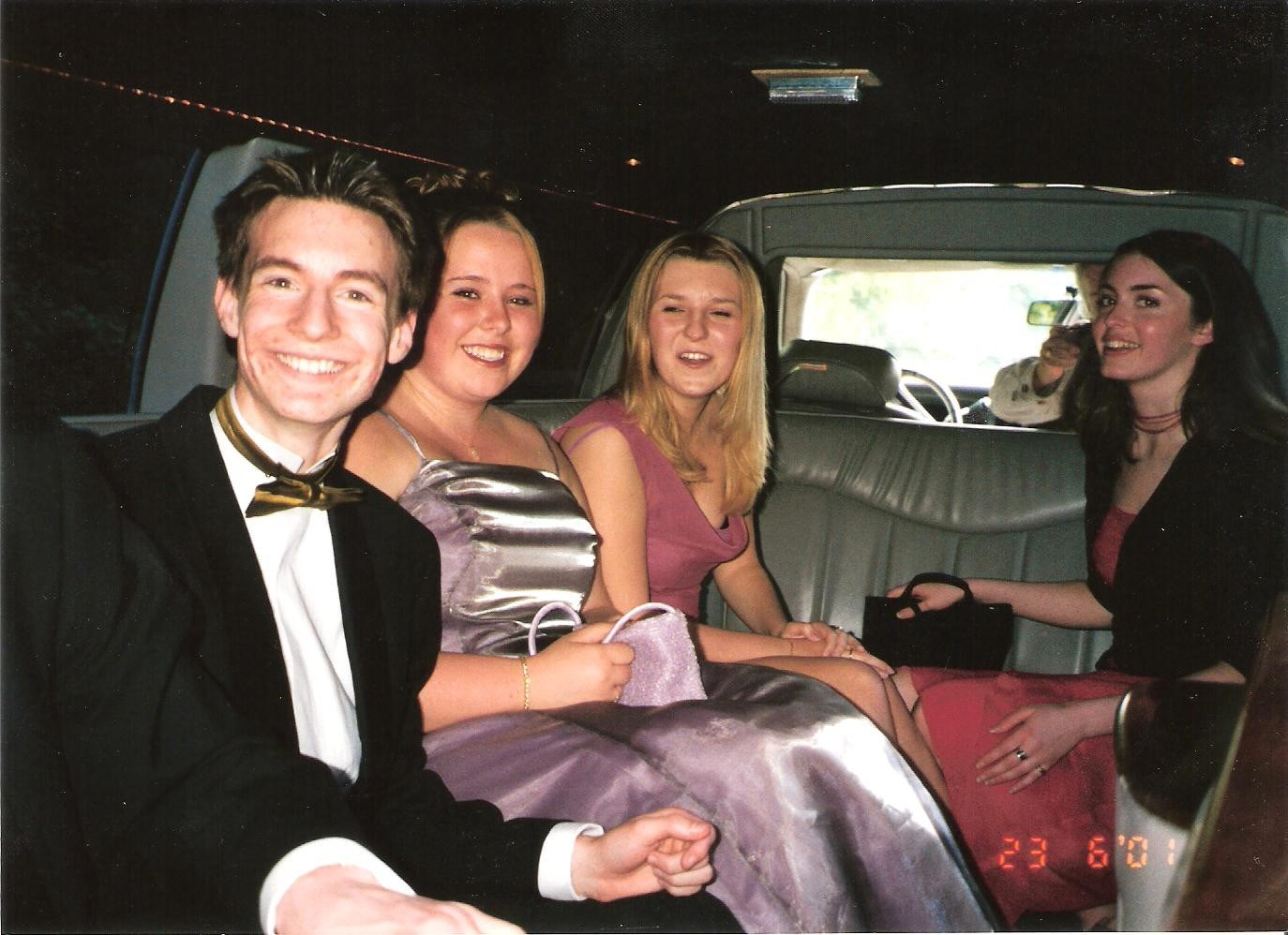 Leafy, Katie, Katrina and Heather in the limo for the 6th Form Leaver's party