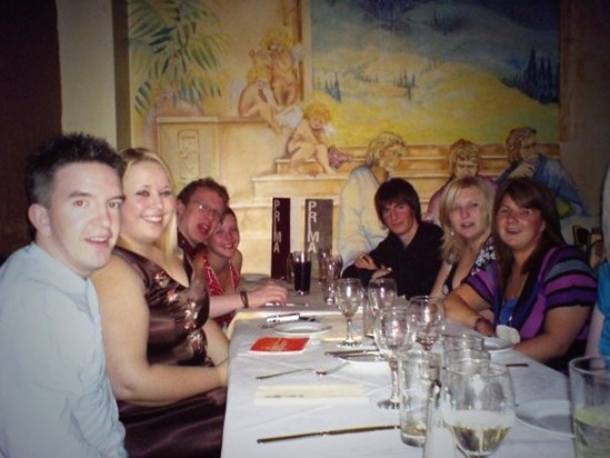 Leafy as many will remember him - at a restaurant table, surrounded by friends.