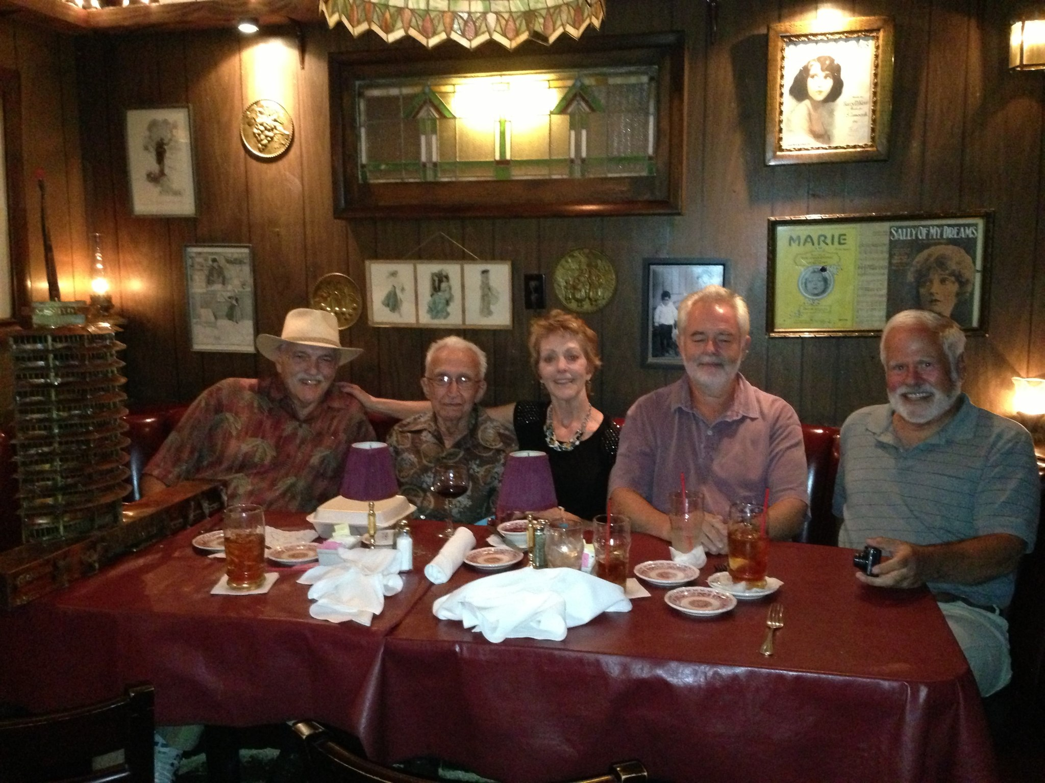 August 2013 lunch: Larry Hathaway, John,Tracy Steele, Rupert Perry, Ken Perry