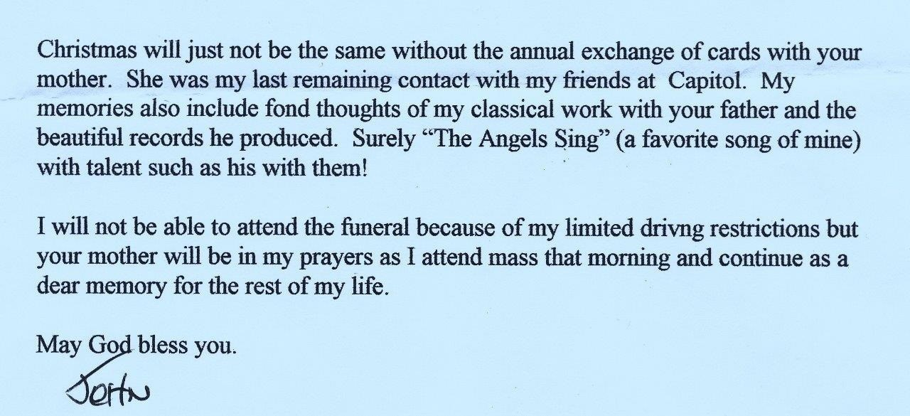 John Palladino letter when Lucile Myers died in 2010 (wife of Capitol Records producer Bob Myers)