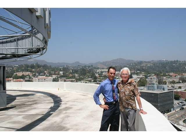 Palladino (right) and Peeples on the Capitol Tower roof, 2010.