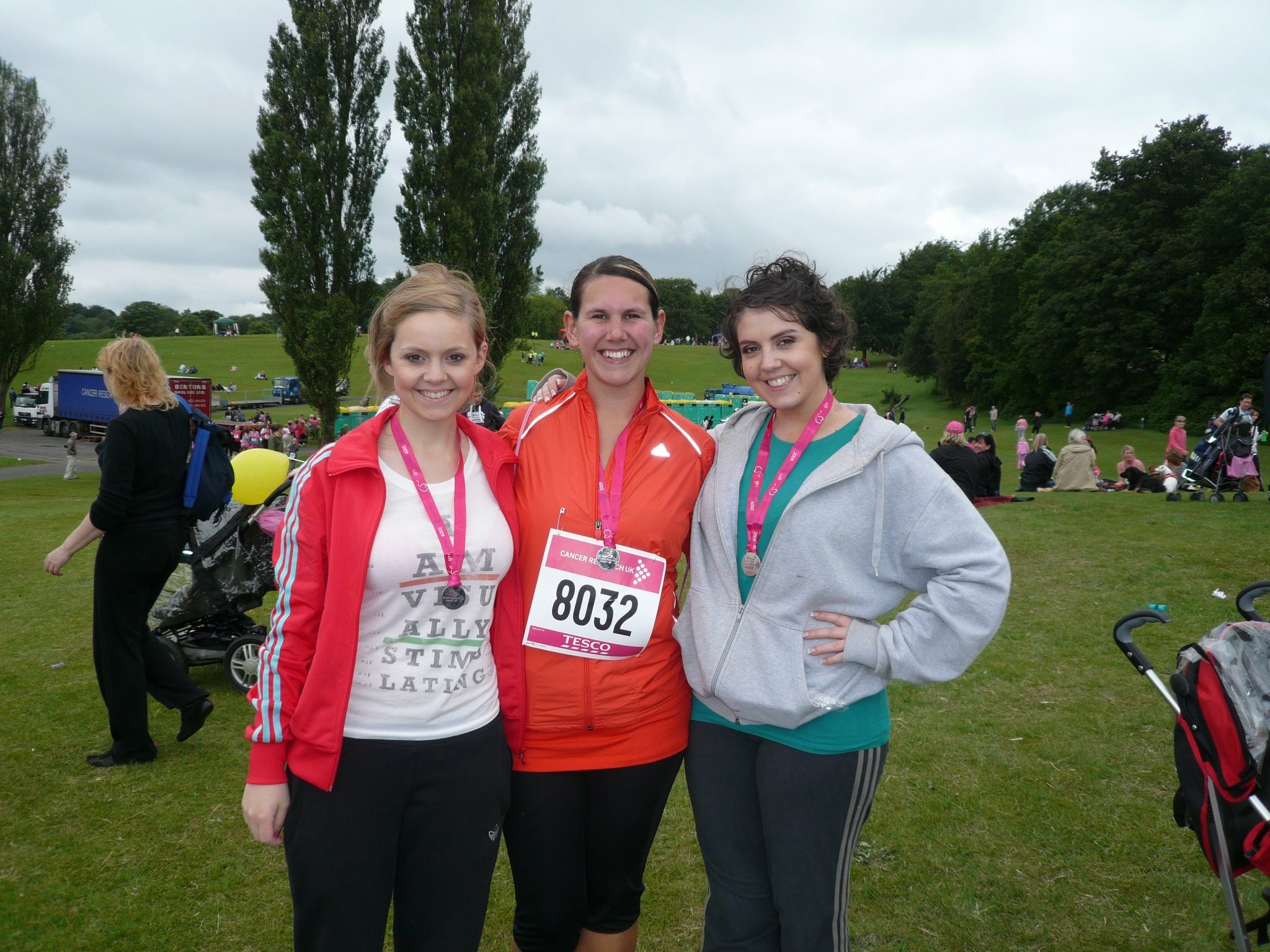 Anja Completing the Race for Life with her two sisters