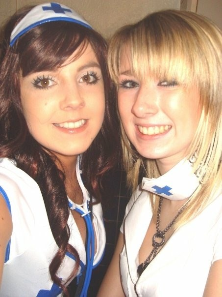 Anja loved Fancy Dress parties. This picture is at a halloween party she organised for Audenshaw Sixth Form College