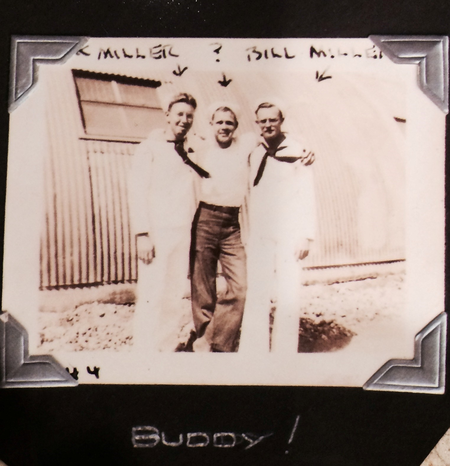 Grandpa Bill in the Navy with 2 buddies