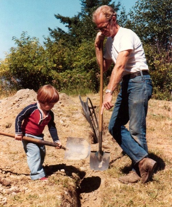 Dad and Will digging trench at Whidbey