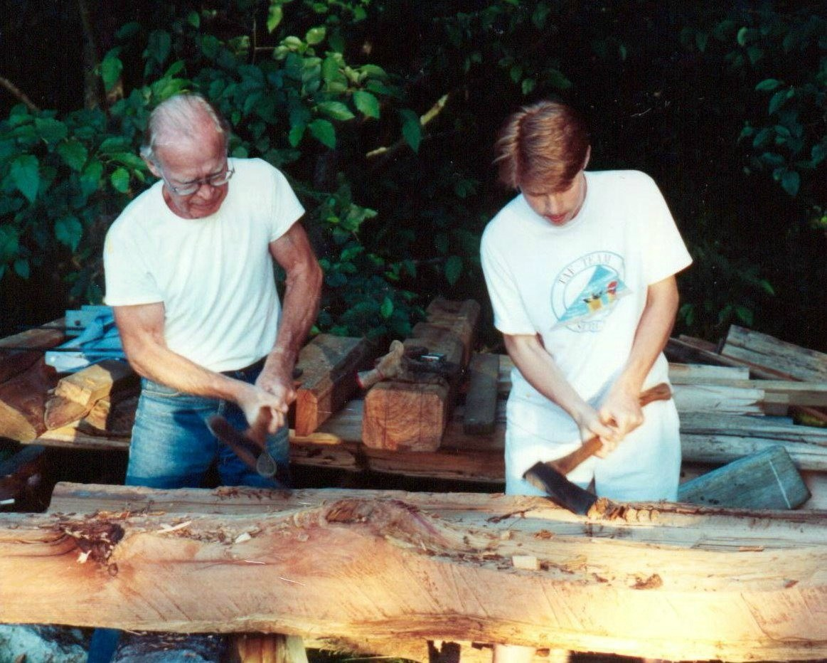 Carving fence posts with Dad