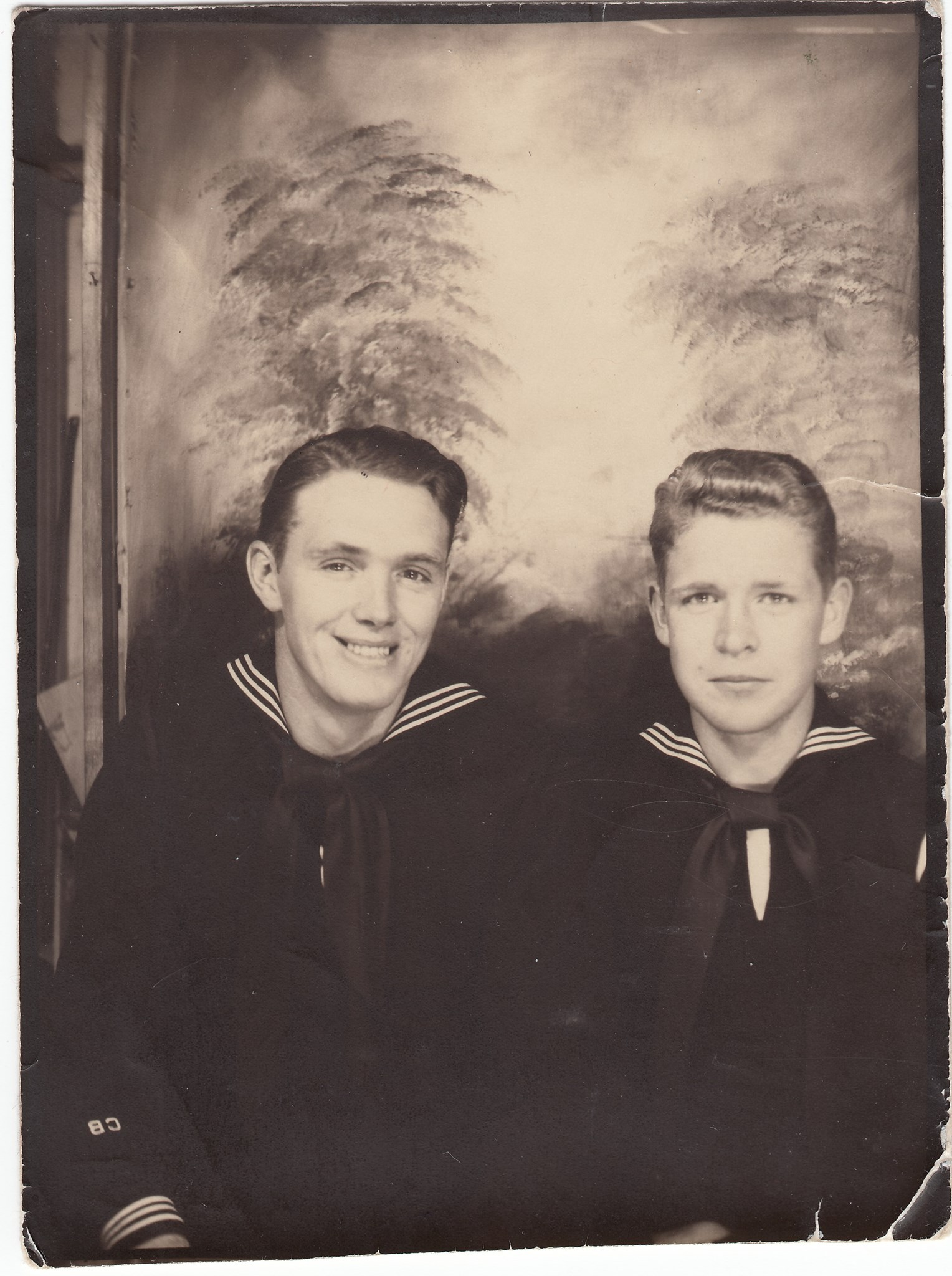 "Photo Back: ""Me & Bill, 1/15/44 Baloxi, Miss., W.R. McNae, 170 Melrose North, Seattle, Wash."""