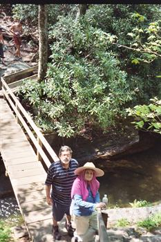 Karen with her brother Bo on a hike along the Blue Ridge Parkway NC 2007