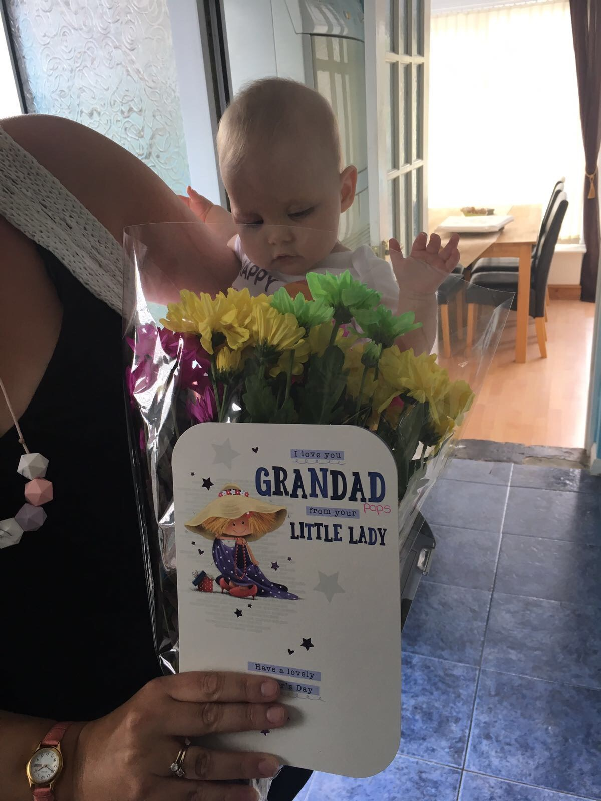 Hi pops I hope you like the flowers and card I got you for Father's Day. I love you loads and loads Aria xxx