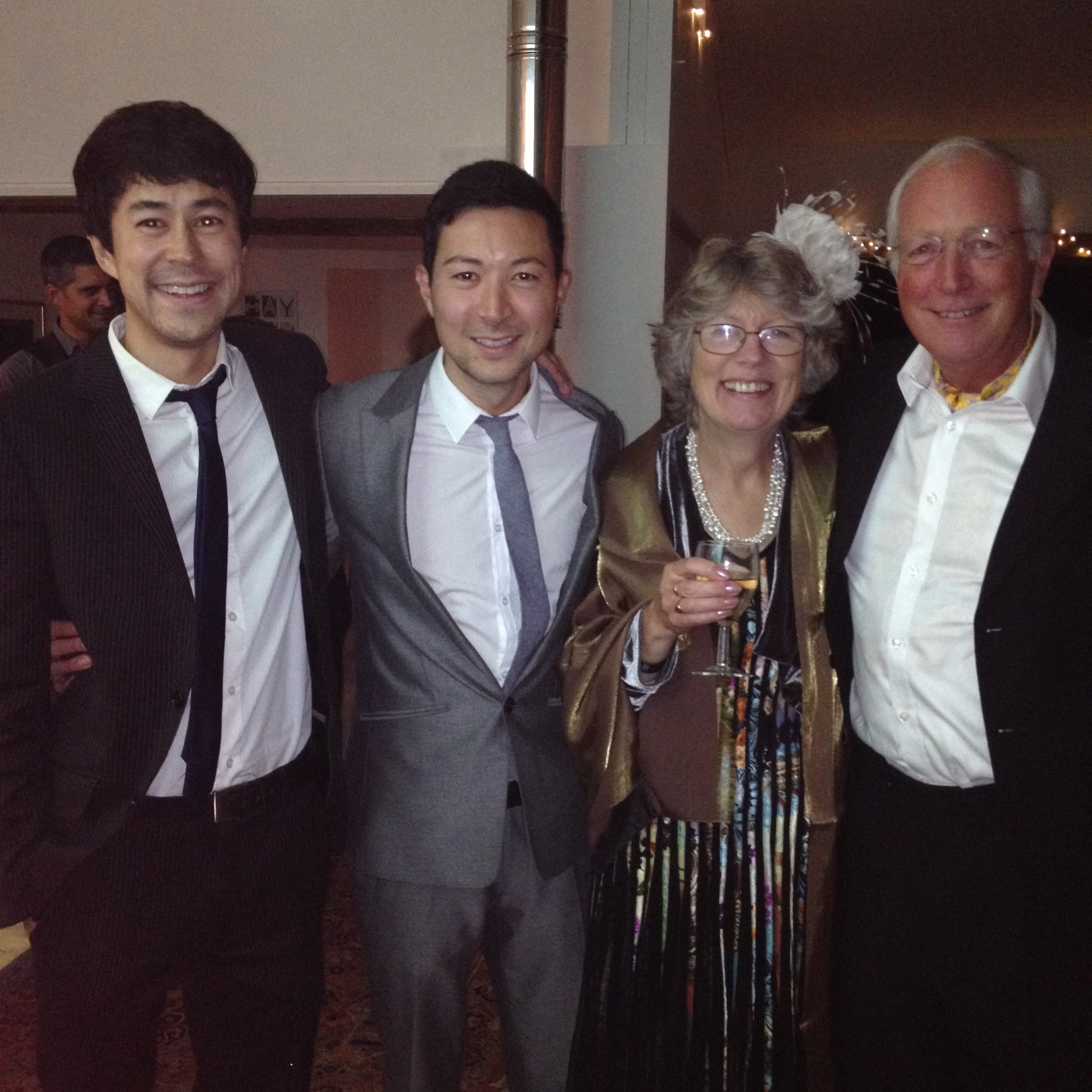Steve, me, Brenda and Dad on at Ana and Johnny's wedding party - Cornwall Oct 13