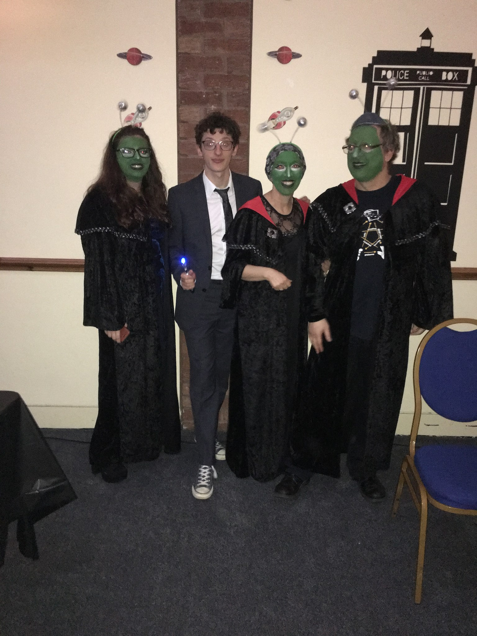 Purim party Yeshurun 2016 - Dr Who and 3 aliens