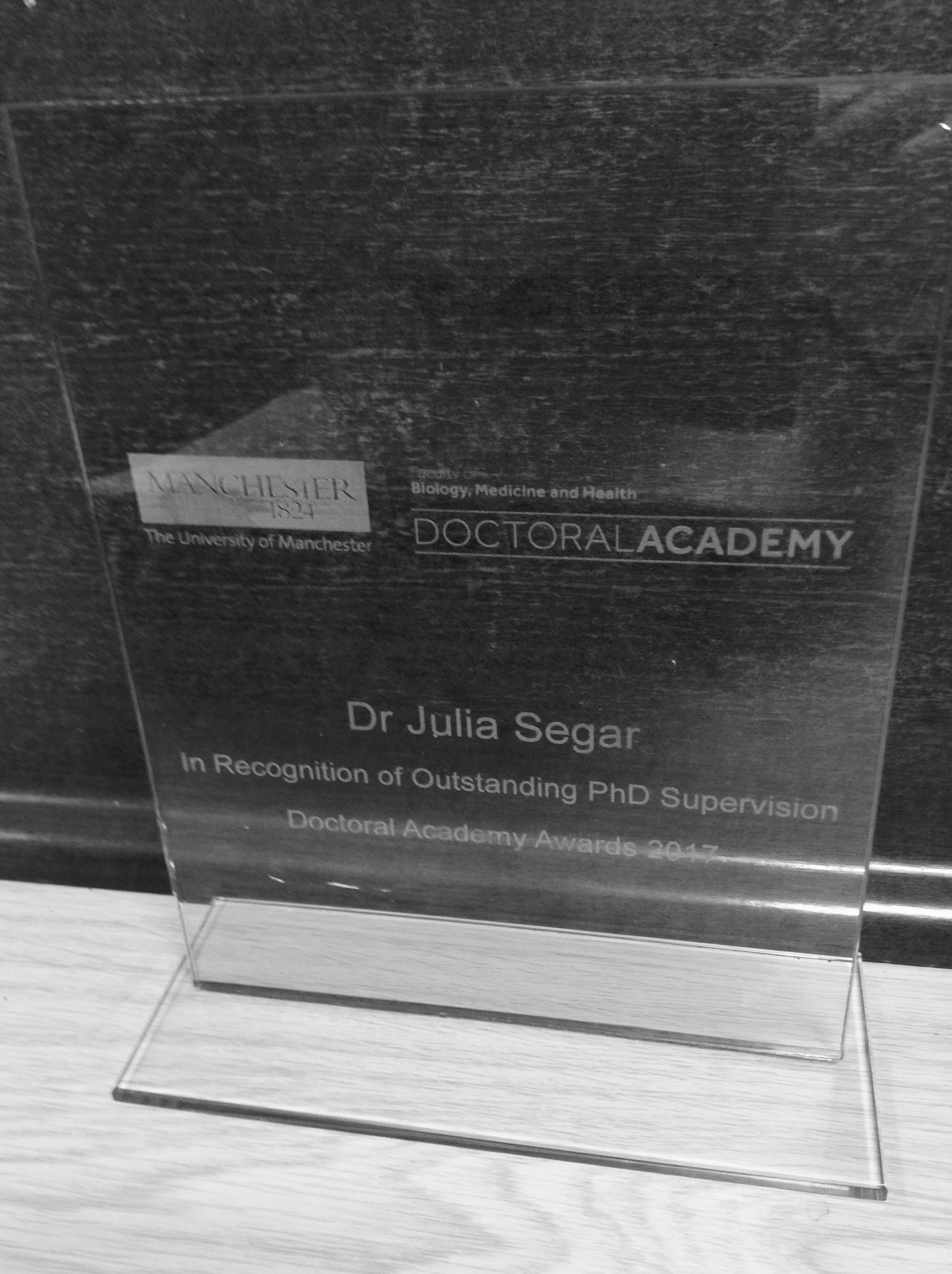 Award for Julia - 'outstanding PhD supervision' nominated by her students