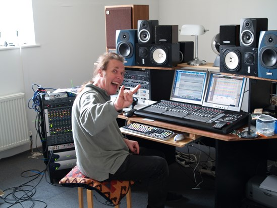 Bernie in his studio 2007 - taken by Ramsay while mixing the 'Frayed Knot' CD.