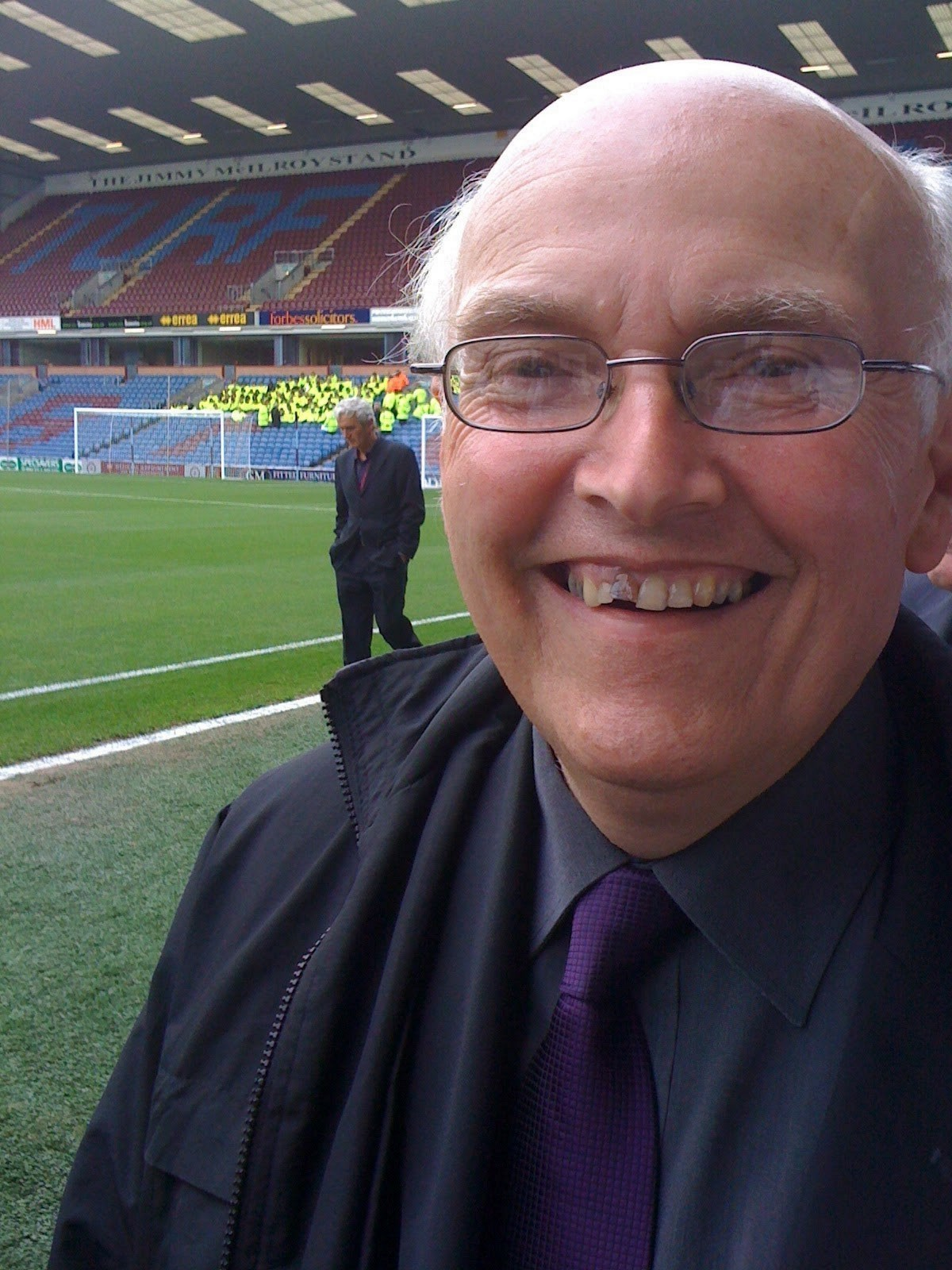 Dad enjoying corporate hospitality at Turf Moor for the Burnley vs Leeds United friendly in 2009