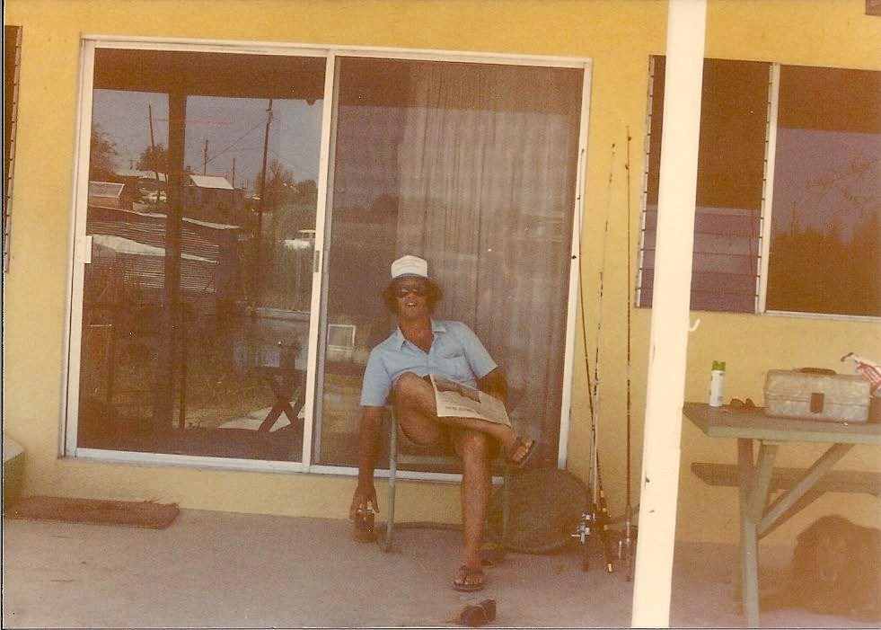 The morning paper and a beer. Scotty style at Fisher's Landing-1982.