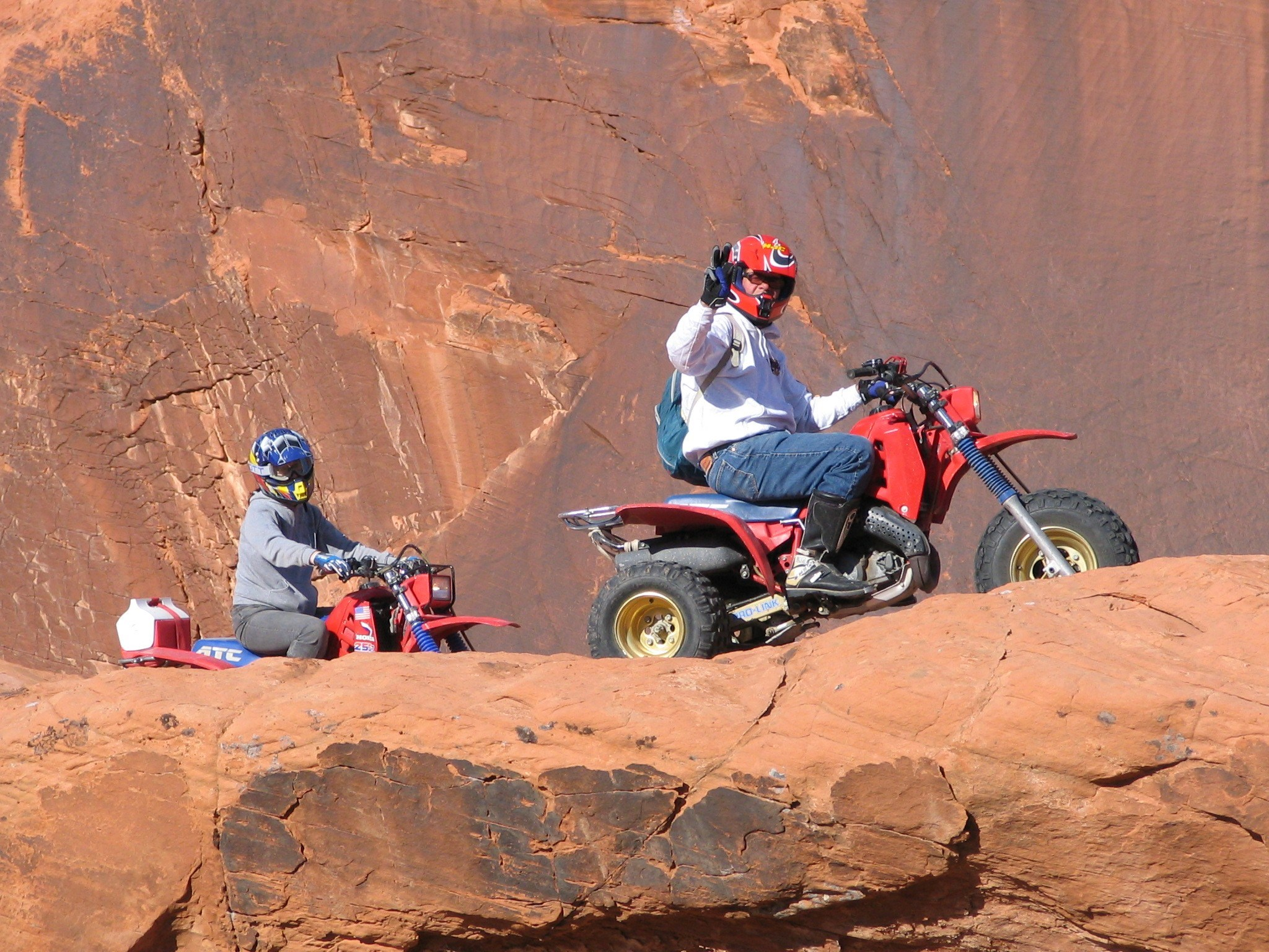 Scott and Bonnie riding the red rock and sand of Logandale / Valley of Fire