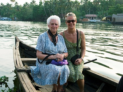 Sonia and Jane on the lake in Kerala, S. India in 2009