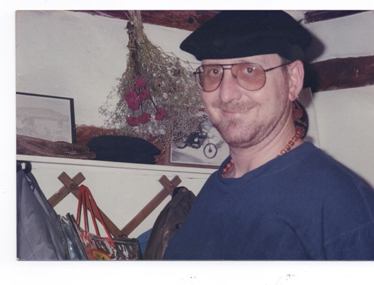 Nick Driver in Silly Beret -  Fir Tree Cottage 1993