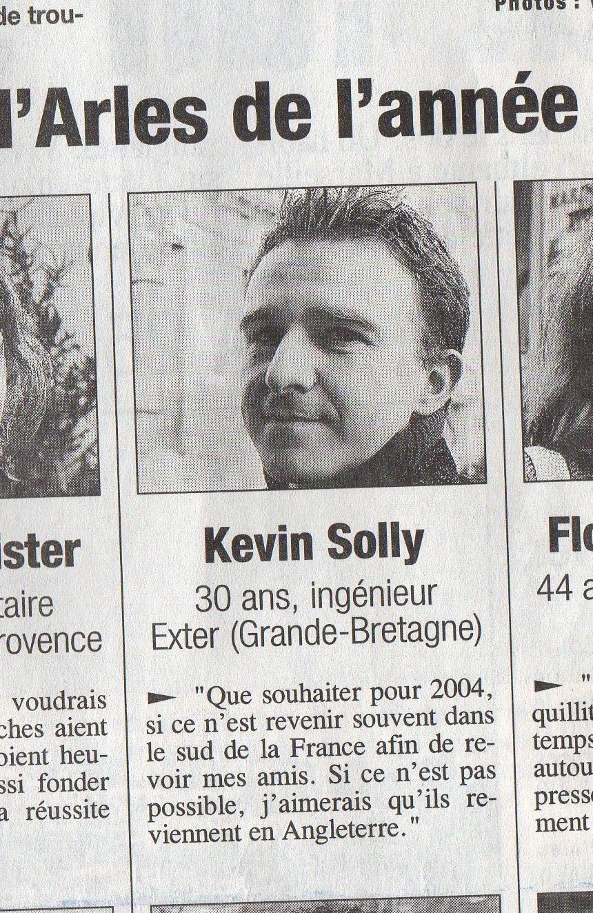 kev tried to escape being interviewed on new years day arles 2004, but failed.