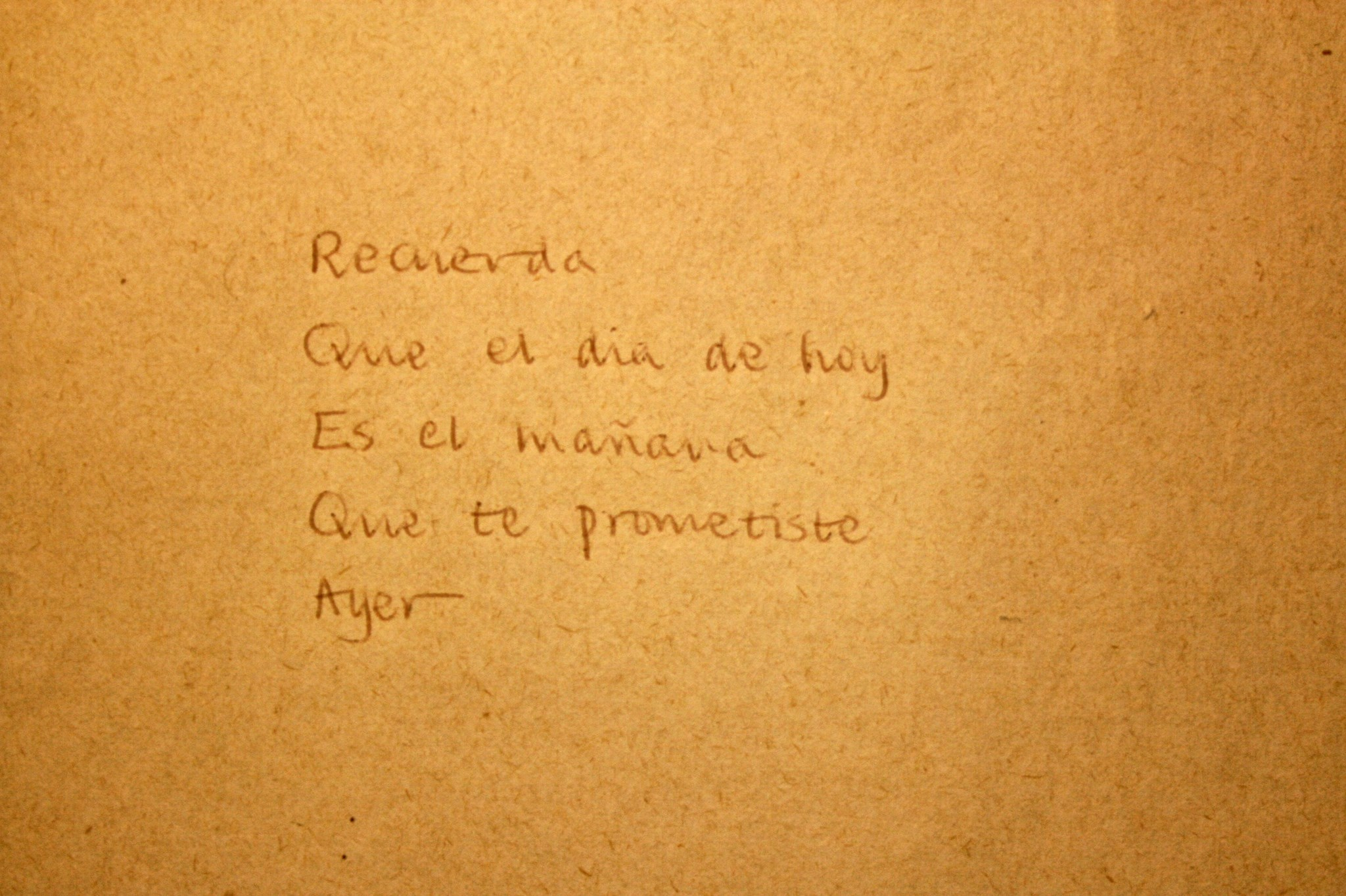 A translation by Felix  into Spanish of little poem in the 1980's - written in his nice handwriting.