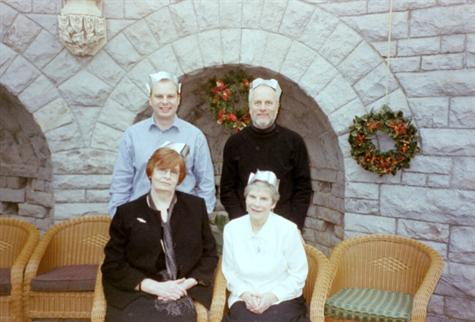 Christmas 2003 at Tortworth Court with Paul (Laura's husband), his mother and John