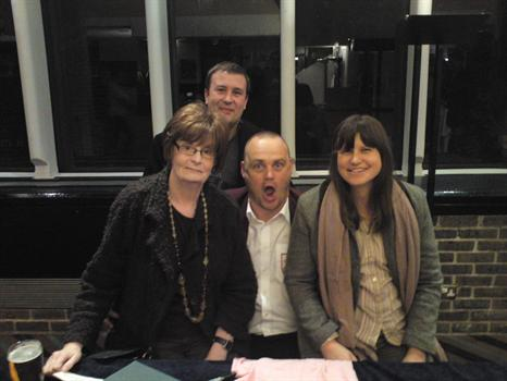 Ann, John Shaw and Elise Nelson with Al Murray, one of her favourite comedians
