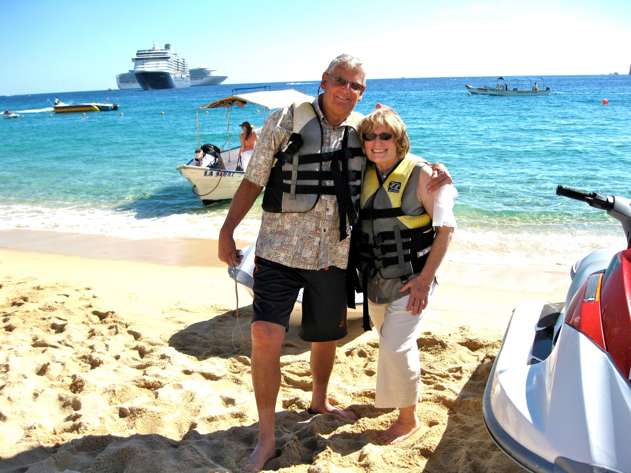 Lou and Susie jetskiing in Cabo San Lucas