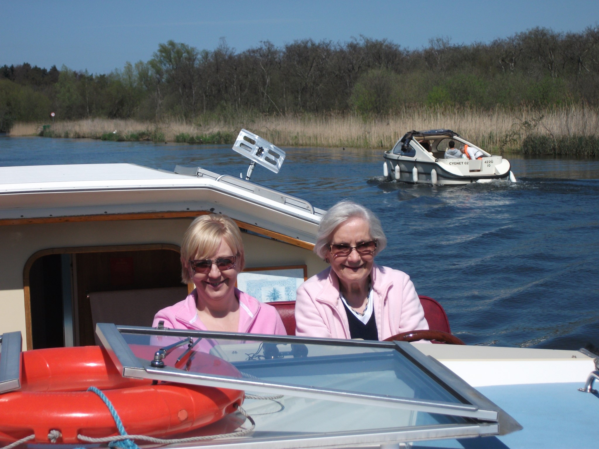 Holiday on the Broads - Les and Margaret (Lesley's mum)