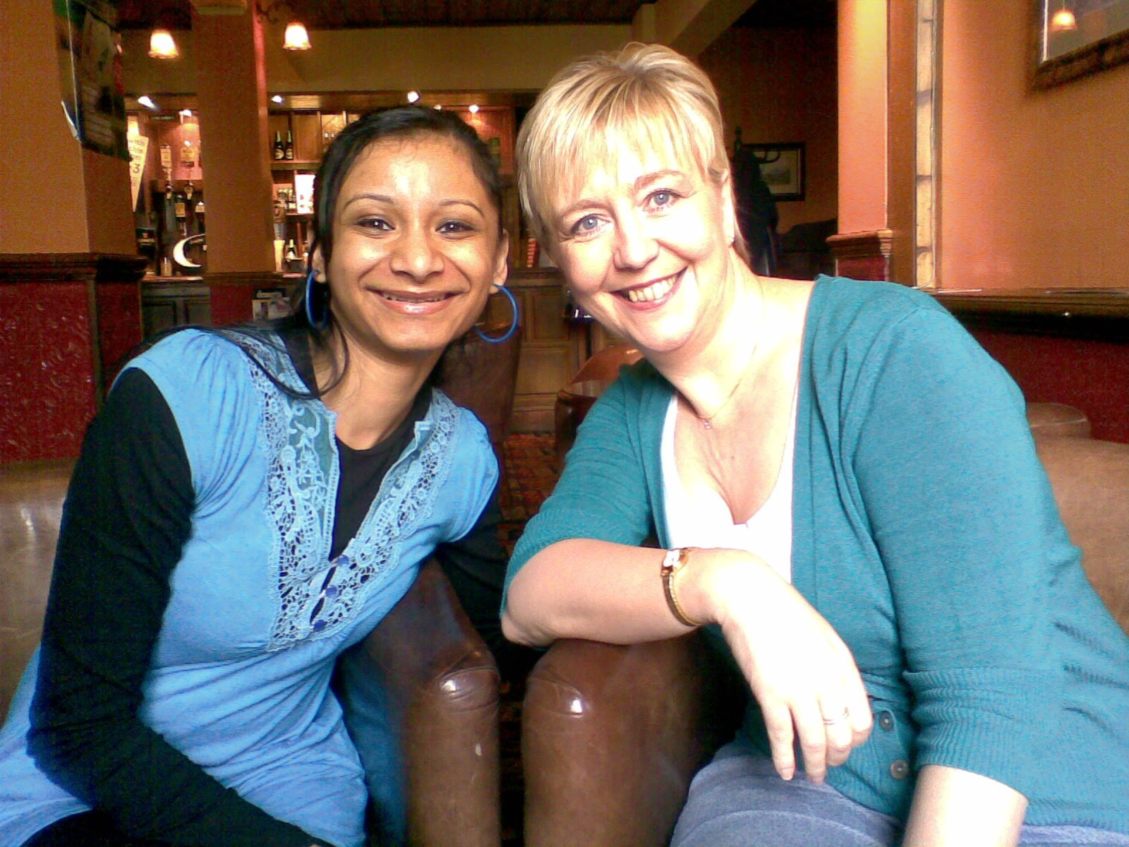 Lesley on her 5oth Birthday, with her friend Sajida