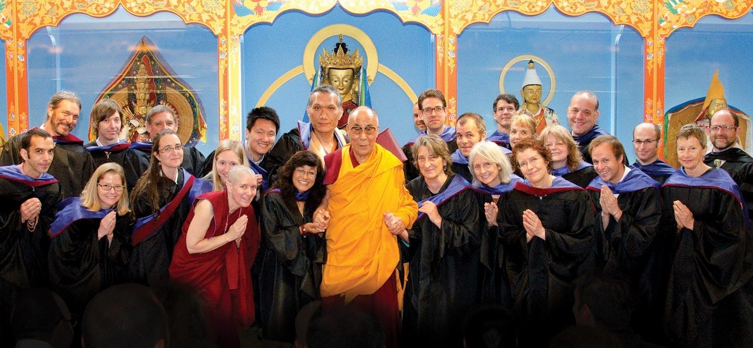 His Holiness the Dalai Lama with Yangsi Rinpoche, Jim Blumenthal, and Maitripa College Students 2013