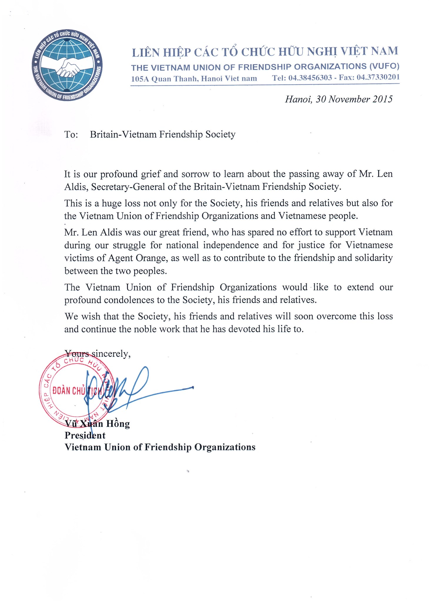 Letter from VUFO