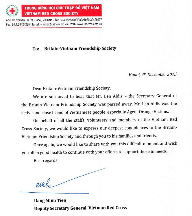 Red Cross Society Letter of Condolence