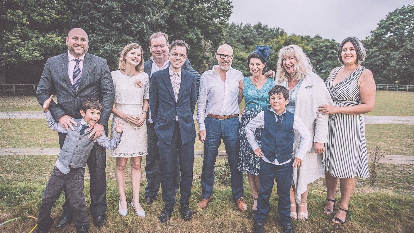 David & family at Olly & Wayne's Wedding