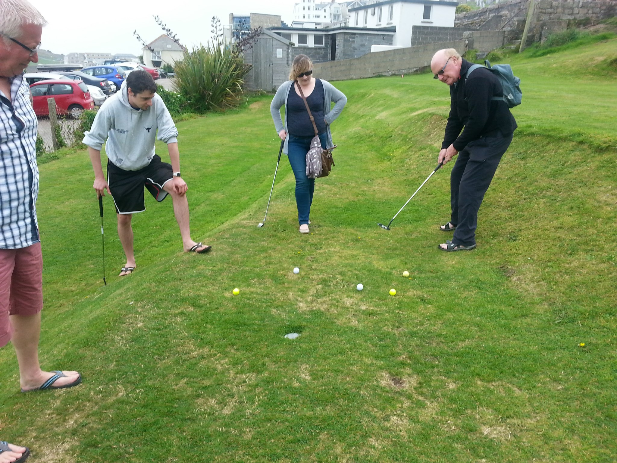 A wonderful hole in one, cornwall 2014 .Always the keen competitor.