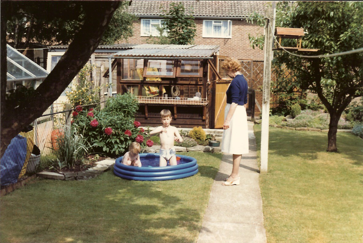c1986 - Nan with Graham & Jonathan in back garden of number 21.