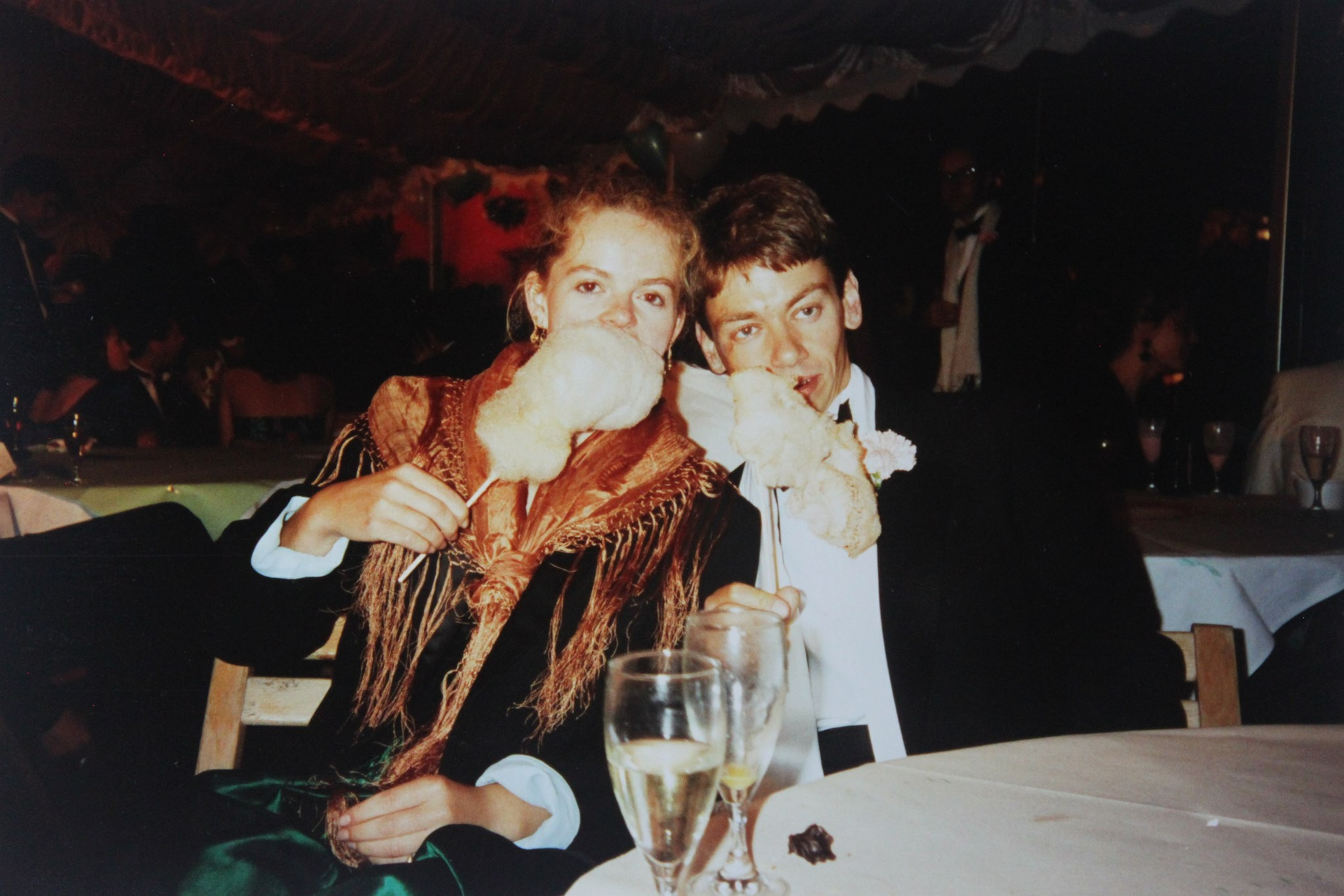 Eating candy floss with Mark at Clare May Ball