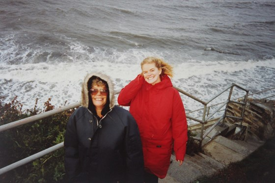 With Mum by the coast